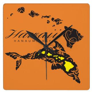 Horloge Carrée Baleine d'Hawaï Aloha