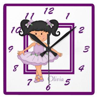 Horloge Carrée Ballerine mignonne de lavande personnalisée