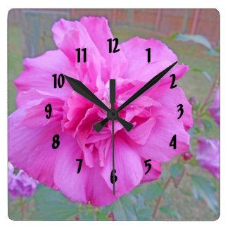 Horloge Carrée Beau Fuschia de floraison s'est levé