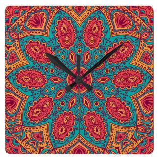 Horloge Carrée Beau motif orange turquoise rose de zen