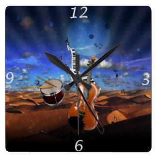 Horloge Carrée Beaux tambours de piano d'éclaboussure de violon d