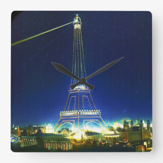 Horloge Carrée Belle image vintage de Tour Eiffel