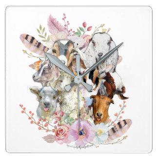 Horloge Carrée Belles chèvres GetYerGoat™ d'aquarelle des chèvres