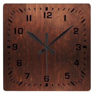 Horloge Carrée Bois de Faux de Brown foncé