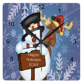 Horloge Carrée Bonhomme de neige et renne