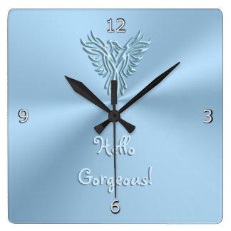 Horloge Carrée Bonjour magnifique avec l'emblème en hausse de