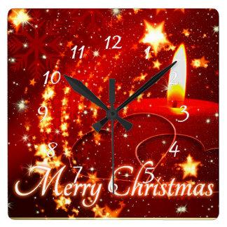 Horloge Carrée Bougie de rouge de Joyeux Noël