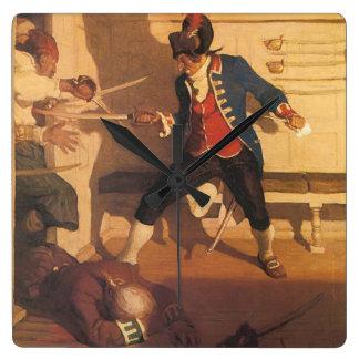Horloge Carrée Capitaine vintage de pirate, combat d'épée par OR