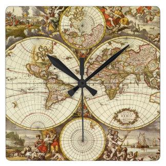 Horloge Carrée Carte antique du monde, C. 1680. Par Frederick de
