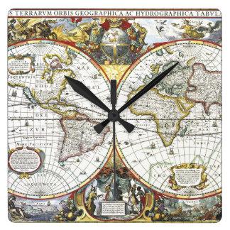 Horloge Carrée Carte antique du monde par Hendrik Hondius, 1630