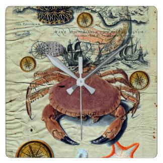 Horloge Carrée Carte de crabe