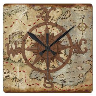 Horloge Carrée Carte de trésor