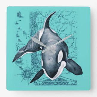 Horloge Carrée Carte Teal d'orque