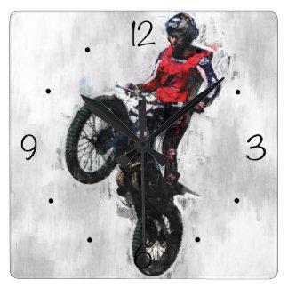Horloge Carrée Cavalier de procès de motocyclette