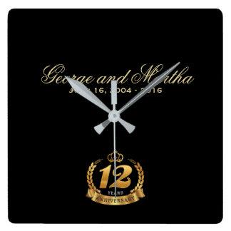 Horloge Carrée Célébration du 12ème anniversaire. Personnalisable