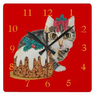 Horloge Carrée chat tigré gris de chaton mignon léchant Noël de