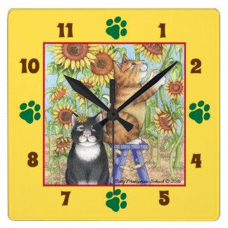 Horloge Carrée Chats avec l'horloge murale carrée de tournesols