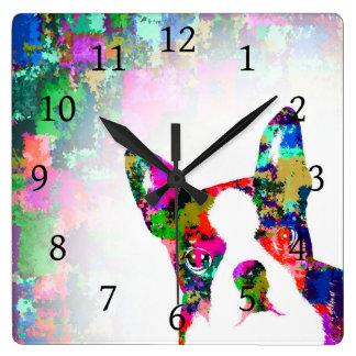 Horloge Carrée Chien 135 Boston Terrier