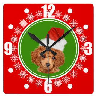 Horloge Carrée Chien mignon de casquette de Père Noël de Noël de