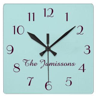 Horloge Carrée CHOISISSEZ VOTRE COULEUR, bleu d'oeufs de merles,