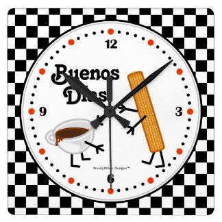 Horloge Carrée Churro et chocolat Buenos Dias - nourritures