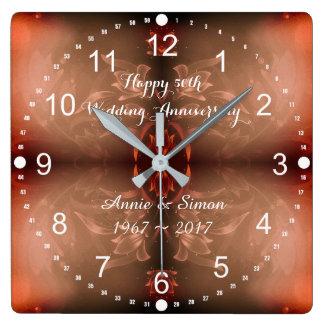 Horloge Carrée cinquantième Anniversaire de mariage Brown floral