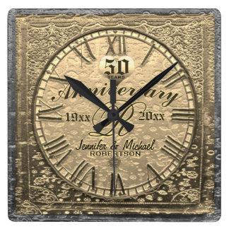 Horloge Carrée cinquantième Cru d'anniversaire de mariage d'or