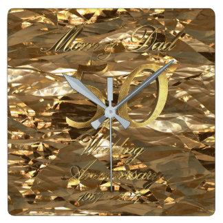 Horloge Carrée cinquantième Parents de mariage d'or