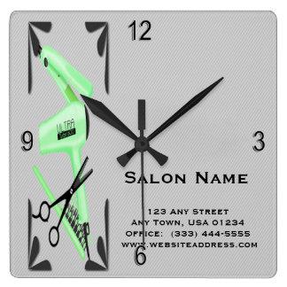 Horloge Carrée Ciseaux de fer de bordage de sèche-cheveux de