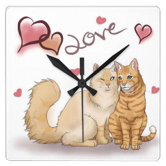 """Horloge Carrée Clock «cats love """""""