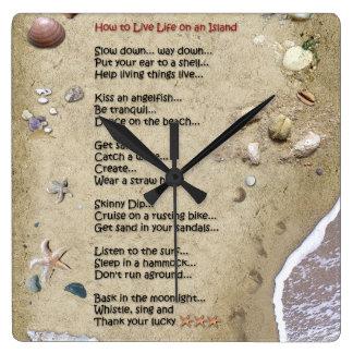 Horloge Carrée Comment vivre la vie sur une île