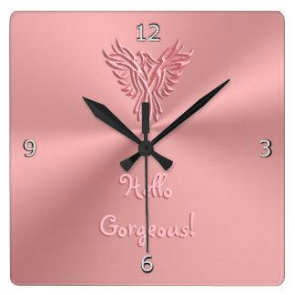 Horloge Carrée Conception d'emblème de Phoenix avec bonjour le