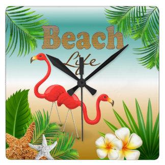 Horloge Carrée Conception tropicale de la vie de plage avec des