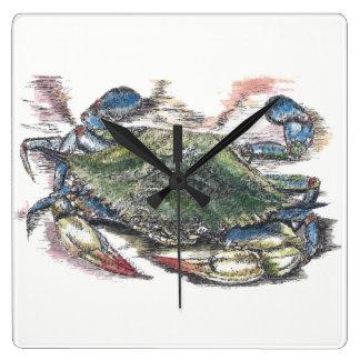 Horloge Carrée Crabe bleu