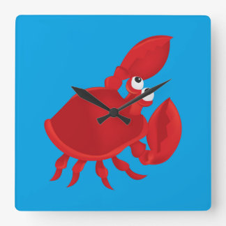 Horloge Carrée Crabe de bande dessinée