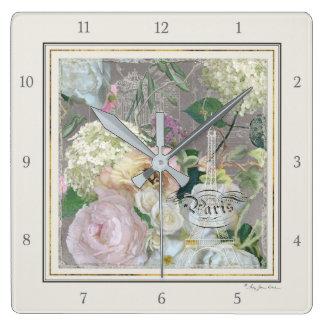 Horloge Carrée Cru floral du marché français de Tour Eiffel de