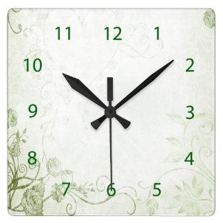 Horloge Carrée Cru vert élégant