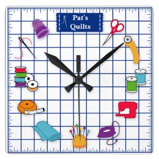 Horloge Carrée Customisez le temps d'édredon d'étiquette