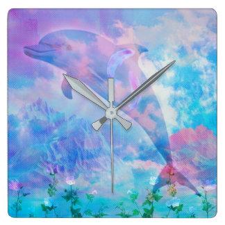 Horloge Carrée Dauphin de Vaporwave dans le ciel