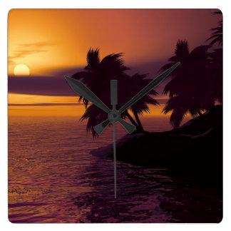 horloge carrée de lever de soleil