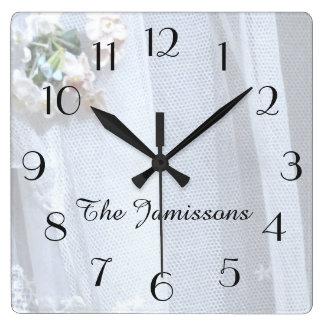 Horloge Carrée Dentelle vintage, horloge, personnalisée