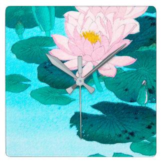 Horloge Carrée Deux fleurs de Lotus