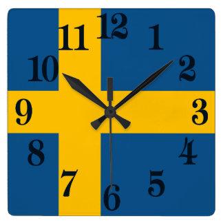 Horloge Carrée Drapeau de la Suède