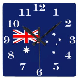 Horloge Carrée Drapeau de l'Australie