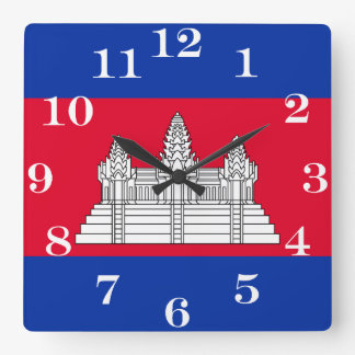 Horloge Carrée Drapeau du Cambodge