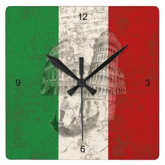 Horloge Carrée Drapeau et symboles de l'Italie ID157