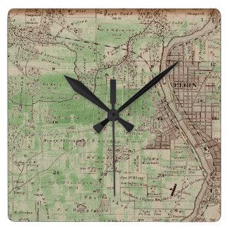 Horloge Carrée Elgin Illlinois 1870 Plat le centre ville de