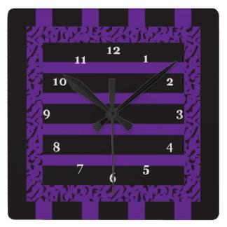 Horloge Carrée Empreinte de léopard rayé pourpre et noir