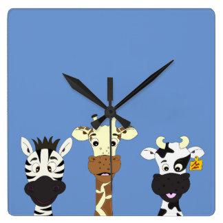 Horloge Carrée Enfants drôles de bande dessinée de vache à girafe