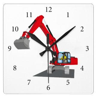 Horloge Carrée excavatrice de chaîne rouge